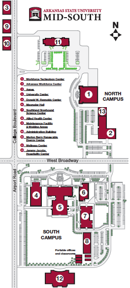 Campus Map Asu.Campus Map Asu Mid South West Memphis Arkansas