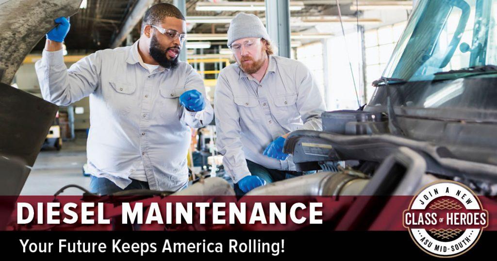 diesel maintenance students repairing rig