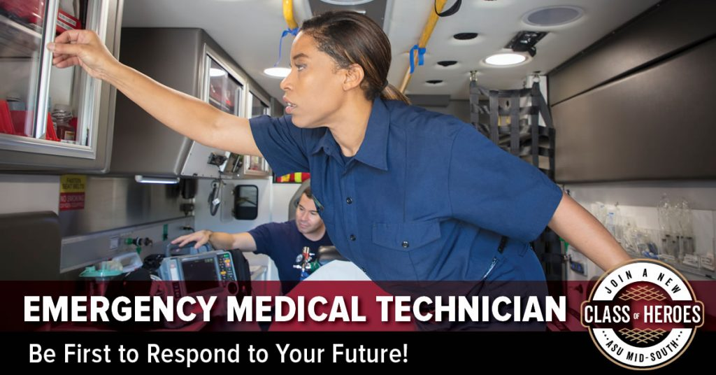 EMT students working in ambulance