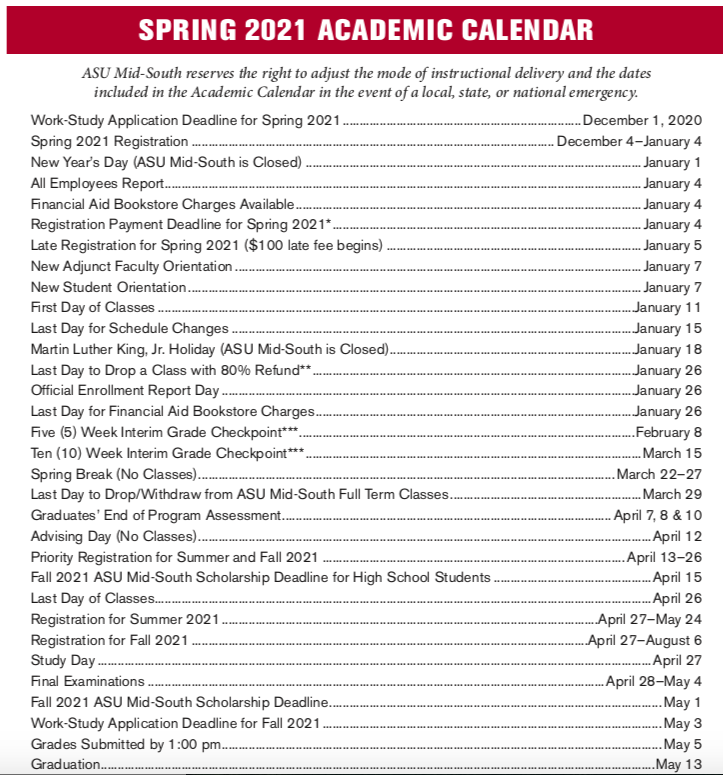 Asu Fall 2022 Calendar.Academic Calendar Asu Mid South West Memphis Arkansas